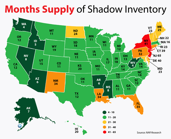Months Supply Shadow Inventory by State