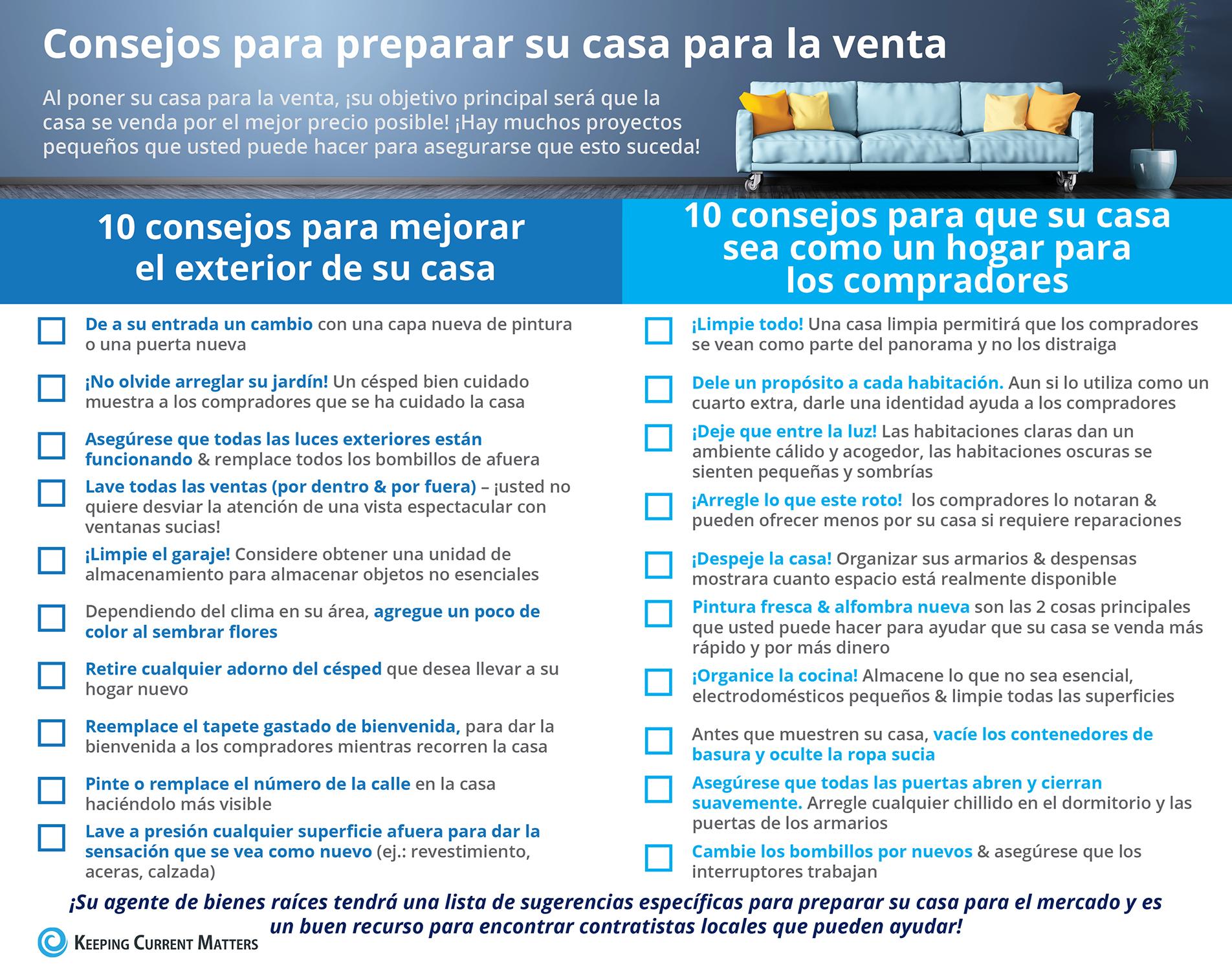 Consejos para preparar su casa para la venta [Infografía] | Keeping Current Matters